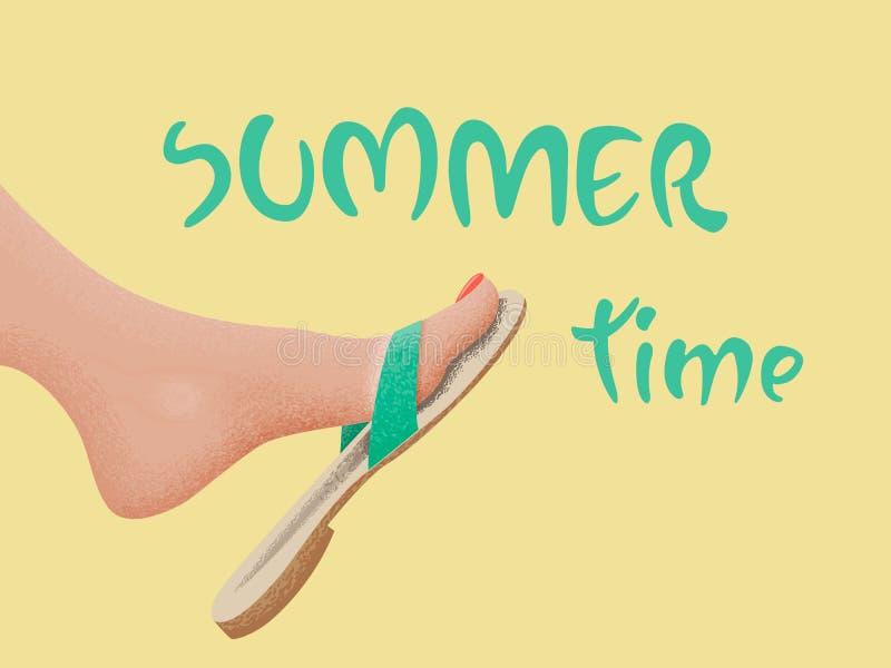 Sommerzeit-Vektorfahnendesign mit gebräuntem tretendem bloßem Fuß in der Sandale auf dem Strand Auch im corel abgehobenen Betrag stock abbildung
