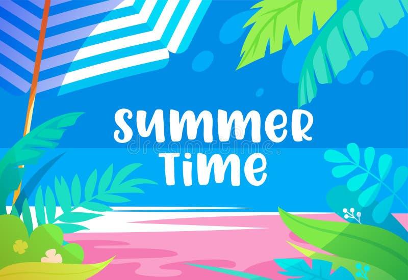 Sommerzeit-vibrierende Fahne mit Palme-Blättern, exotischen tropischen Anlagen, Sandy Beach, Sun-Regenschirm und Seeansicht Promo lizenzfreie abbildung