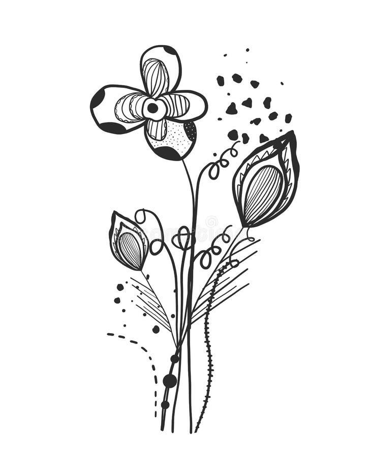 Sommerzeit-Zusammenfassungsschwarzblumen Bäume, die vom See-Wasser wachsen Abstraktes Tätowierungsdesignvektor-Blumenmustermuster lizenzfreie abbildung