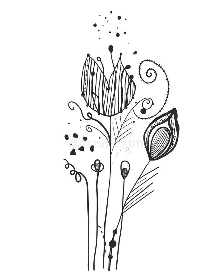Sommerzeit-Zusammenfassungsschwarzblumen tätowierung Bäume, die vom See-Wasser wachsen Abstrakte Gänseblümchenschattenbildblume B vektor abbildung