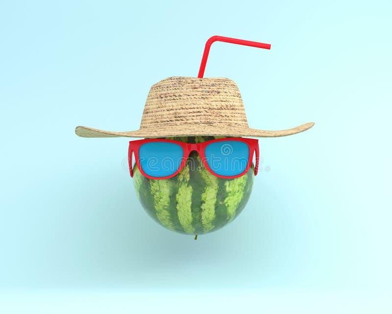 Sommerzeiten der lustigen attraktiven Wassermelone im stilvollen sunglasse lizenzfreie stockfotos