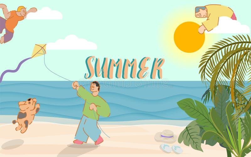 Sommerzeitfahne mit typografischem auf Himmel und einem Mann mit dem Hund, der einen Drachen auf Strand spielt lizenzfreie abbildung