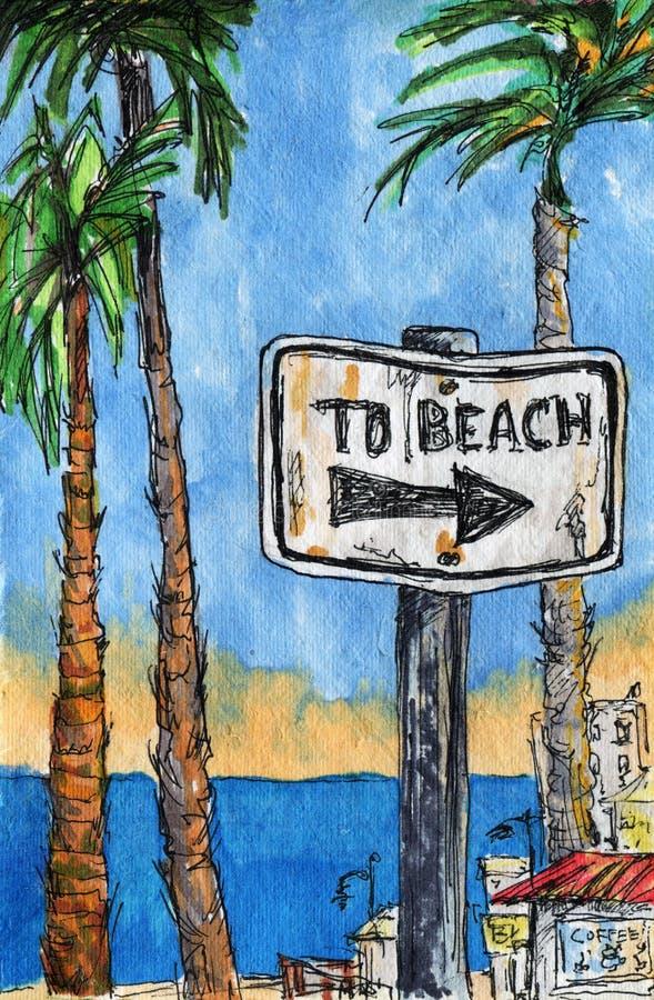 Sommerzeitfeiertag Palmen, Meer, Zeichen, das Richtung zum Strand zeigt lizenzfreie stockfotografie