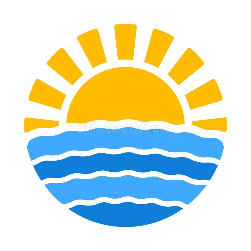 Sommerzeitikone mit Sonne und Meer lizenzfreie abbildung