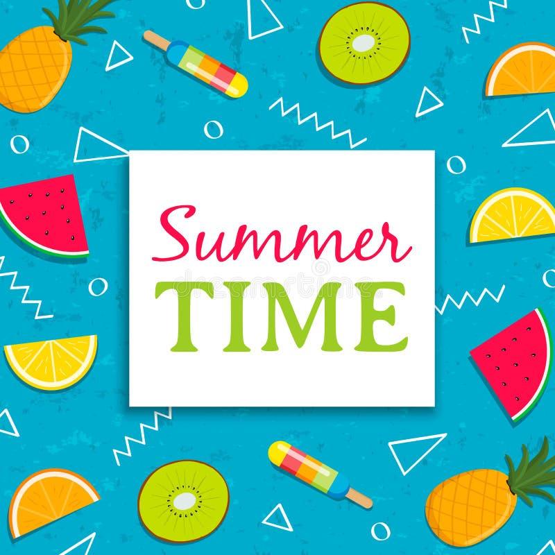 Sommerzeitkarte mit Eiscreme der tropischen Frucht vektor abbildung