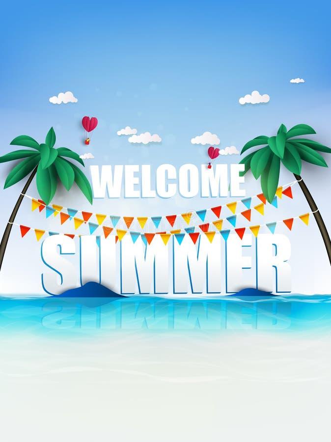 Sommerzeitpartei auf dem tropischen Paradiesstrand Palmen und Anlage vektor abbildung