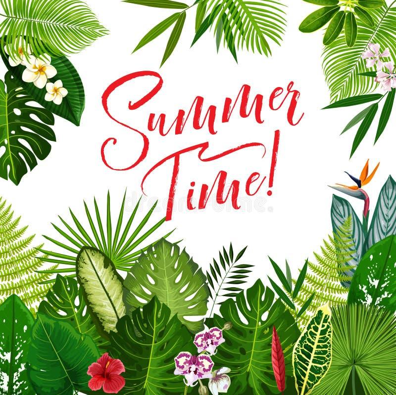 Sommerzeitplakat mit tropischer Blume und Palme lizenzfreie abbildung