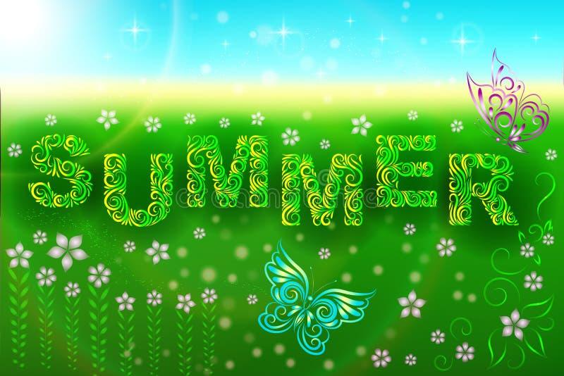 Sommerzusammensetzung: der Aufschriftsommer, -schmetterlinge und -blumen in der Wiese Hallo Sommer Feld Entspannung lizenzfreie abbildung