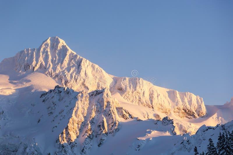 Sommet de crête de montagne de Baker de bâti Scène du nord de nature d'hiver de parc national de cascades images libres de droits