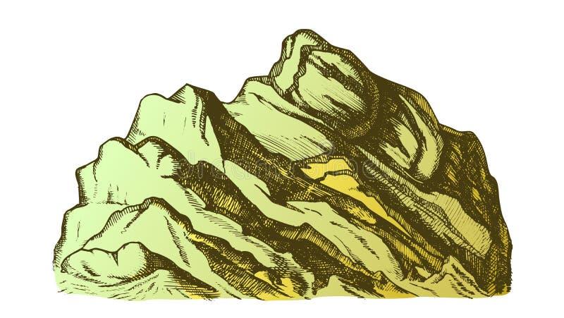 Sommità di colore del vettore disegnato a mano del paesaggio della montagna illustrazione di stock