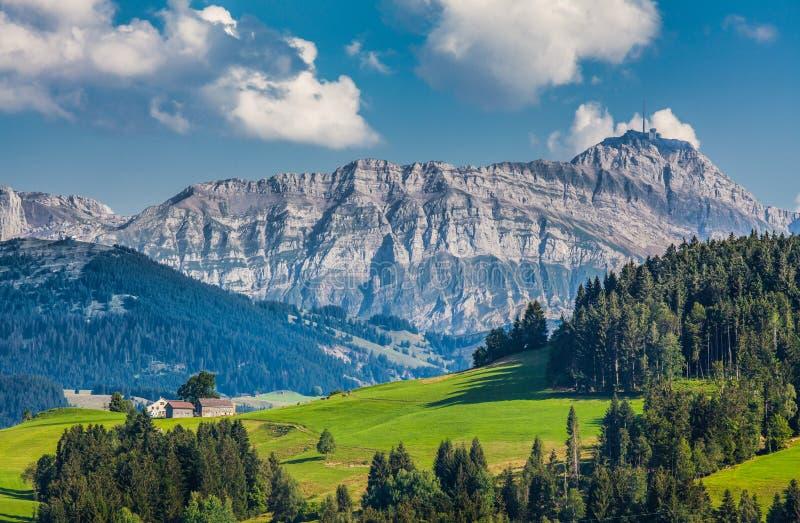 Sommità di Säntis, Appenzellerland, Svizzera fotografia stock libera da diritti