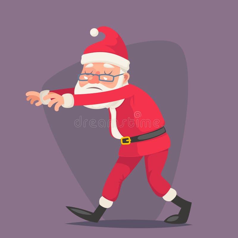 Somnambulist santa Claus vintage спальный ход персонажа christmas карикатуры дизайн векторный иллюстрации бесплатная иллюстрация