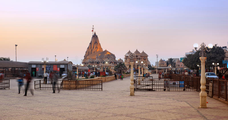 Somnath świątynia przy zmierzchem zdjęcia stock
