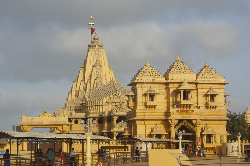 Somnath temple as seen from side, Saurashtra, Gujarat royalty free stock images