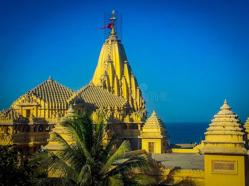 Somnath temple full view, Somnath Temple in Gujarat, Somnath temple in India, Gujarat Tourism, Indian Tourism, Indian Temple.  royalty free stock photo
