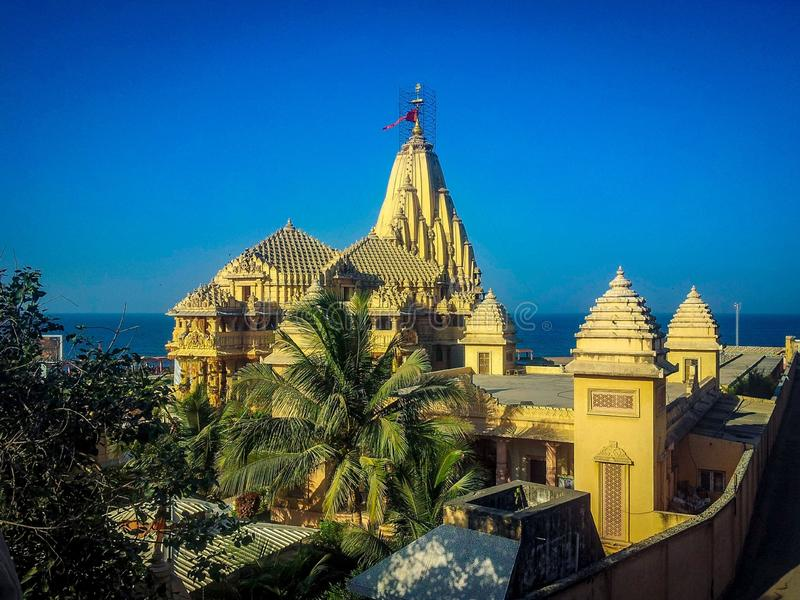 Somnath temple full view, somnath temple in gujarat india, temple in gujarat, somnath Temple, india temple on sea beach. Somnath temple full view, somnath temple royalty free stock images