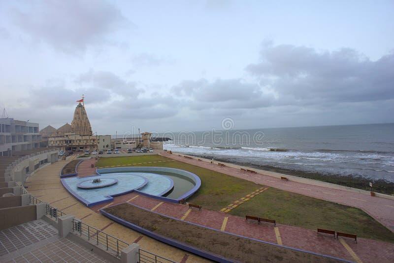 Somnathtempel op westelijke kust van Gujarat royalty-vrije stock afbeeldingen