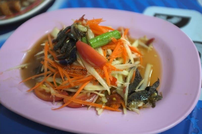 Somtam - salada tailandesa da papaia, alimento tailandês fotografia de stock royalty free