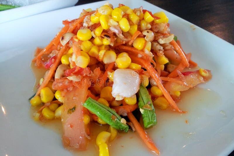 Somtum è un alimento tailandese famoso È un alimento piccante immagine stock libera da diritti