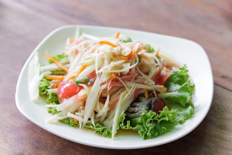 Somtum, alimento delizioso dell'insalata della papaia in Tailandia fotografia stock