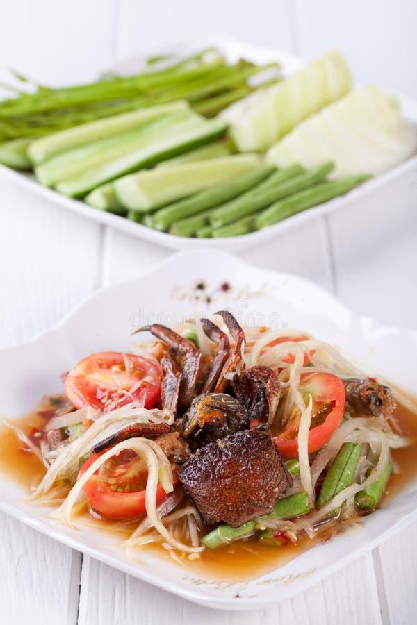Download Somtum, Melonowa Sałatkowy Wyśmienicie Jedzenie W Thailand Obraz Stock - Obraz złożonej z naczynie, krab: 53792511