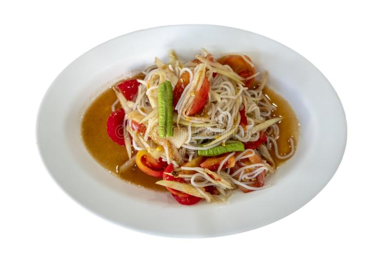 Somtum Thai op witte plaat stock foto's