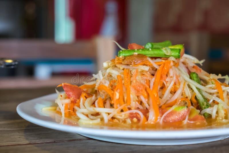 Somtum, thai stilpapayasallad fotografering för bildbyråer