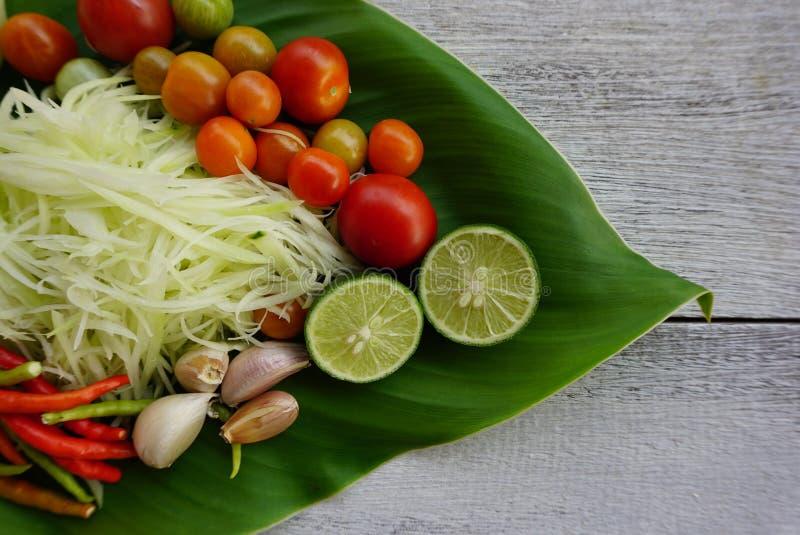 SomTumingrediensen, thailändskt kryddigt och bantar mat royaltyfri fotografi