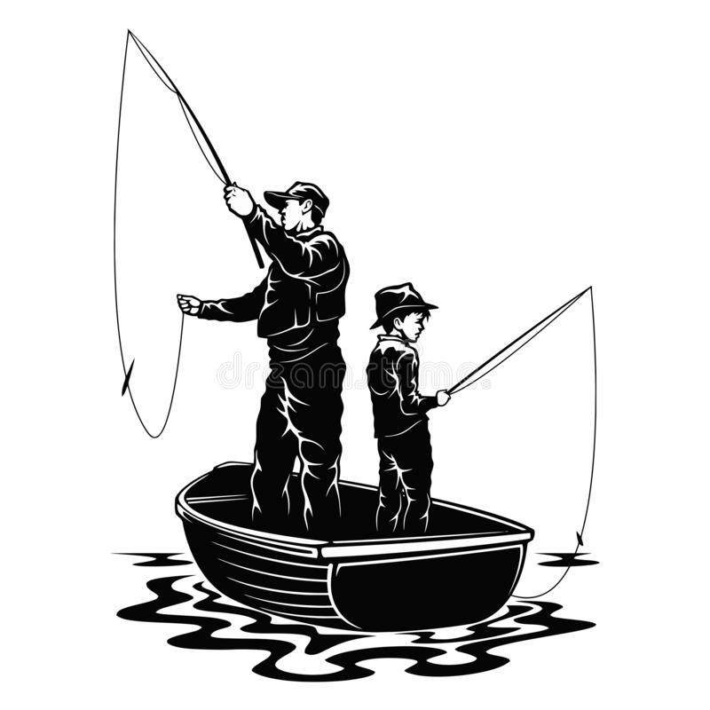 Free Son And Dad In Boat - Fishing Design - Father And Son Fishermans Royalty Free Stock Photography - 199557117