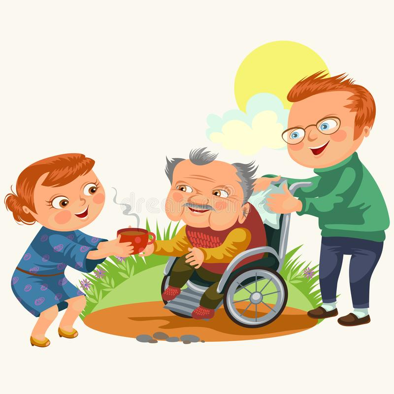Son and daughter care disable parent, dad sitting in wheelchair, happy fathers day background, senior handicap man woman vector illustration
