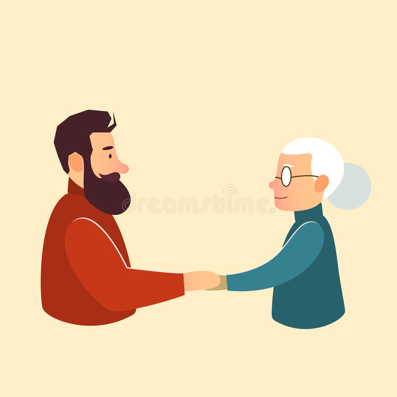 Son or grandson with mother grandmother royalty free illustration