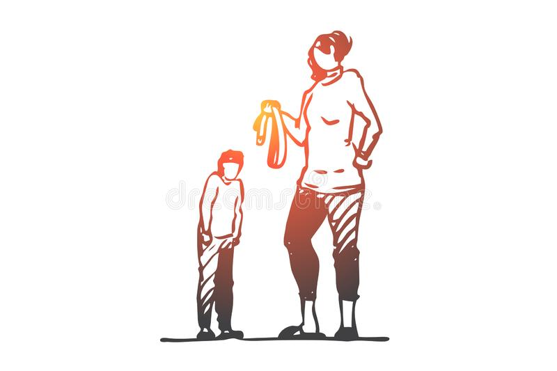 Son mamma, bälte, bestraffning som är ilsken, skräckbegrepp Hand dragen isolerad vektor royaltyfri illustrationer