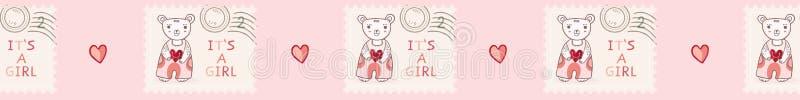Son mignon une frontière sans couture de vecteur de timbre-poste d'ours de nounours de fille illustration stock
