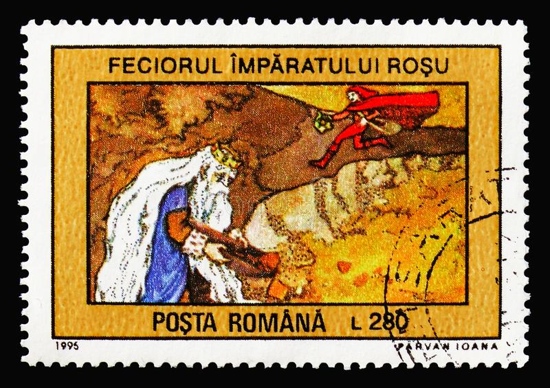 The Son of the Red Emperor, Fairy Tales serie, circa 1995. MOSCOW, RUSSIA - AUGUST 18, 2018: A stamp printed in Romania shows The Son of the Red Emperor, Fairy royalty free stock photos