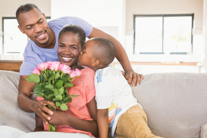 Download Son Surprising Mother With Flowers Stock Image - Image: 62321427