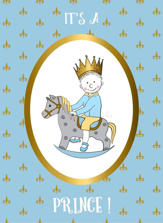Son une carte de garçon Petit cheval de basculage d'équitation de prince illustration stock