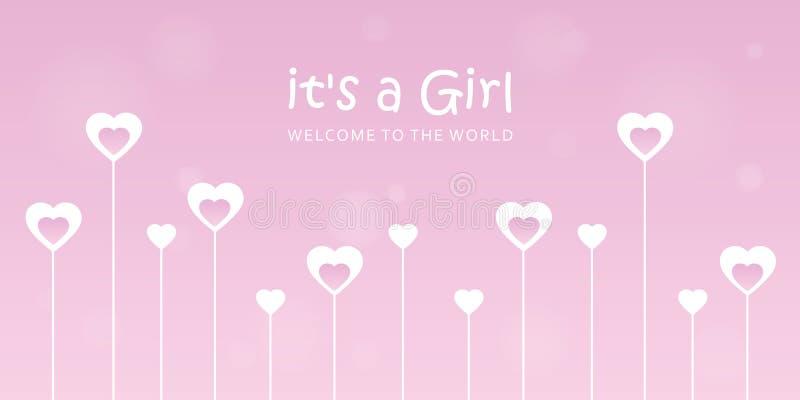 Son une carte de voeux d'accueil de fille pour l'accouchement avec des coeurs illustration de vecteur