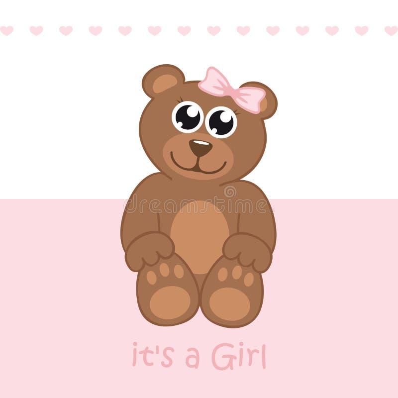 Son une carte de voeux d'accueil de fille pour l'accouchement avec l'ours de nounours illustration stock