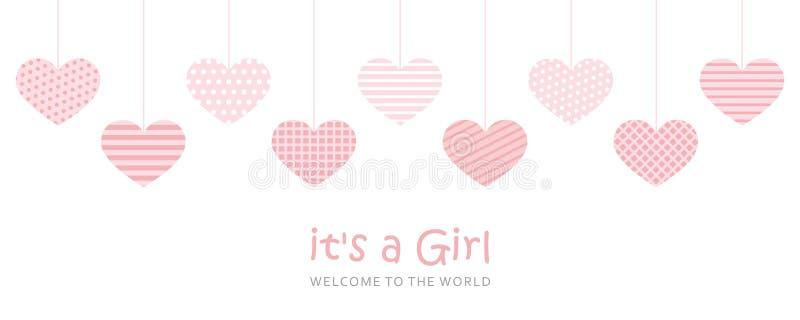 Son une carte de voeux d'accueil de fille pour l'accouchement illustration libre de droits