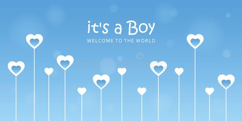 Son une carte de voeux d'accueil de garçon pour l'accouchement avec des coeurs illustration libre de droits