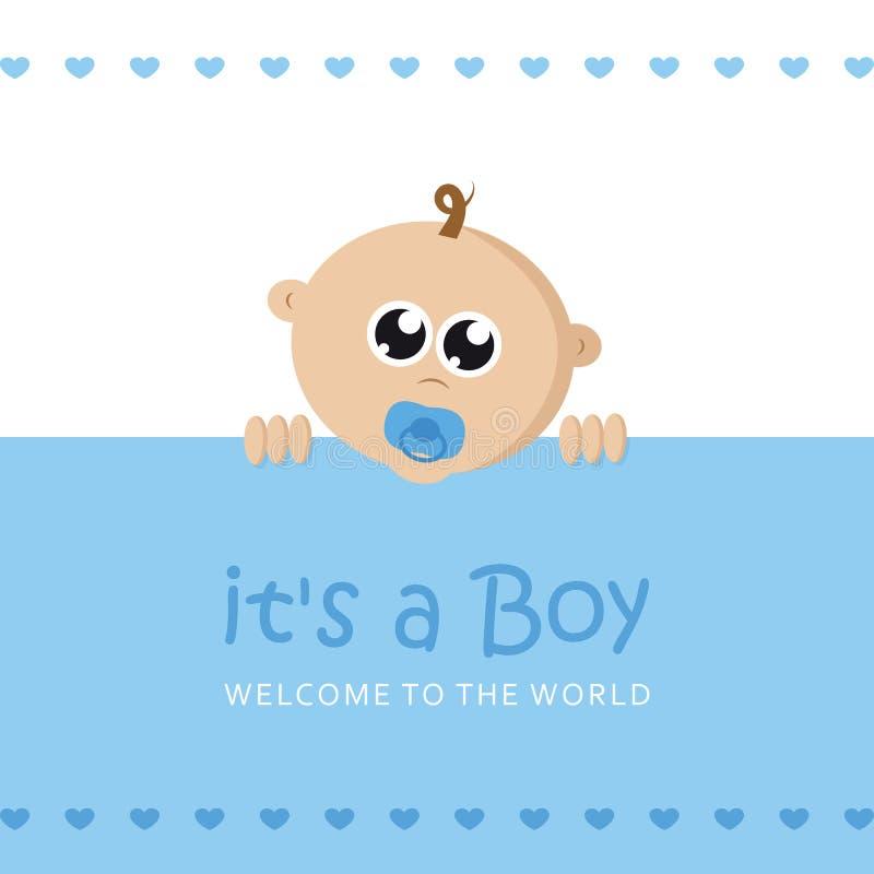 Son une carte de voeux d'accueil de garçon pour l'accouchement avec le visage de bébé illustration stock