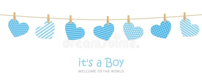 Son une carte de voeux d'accueil de garçon pour l'accouchement avec les coeurs accrochants illustration de vecteur