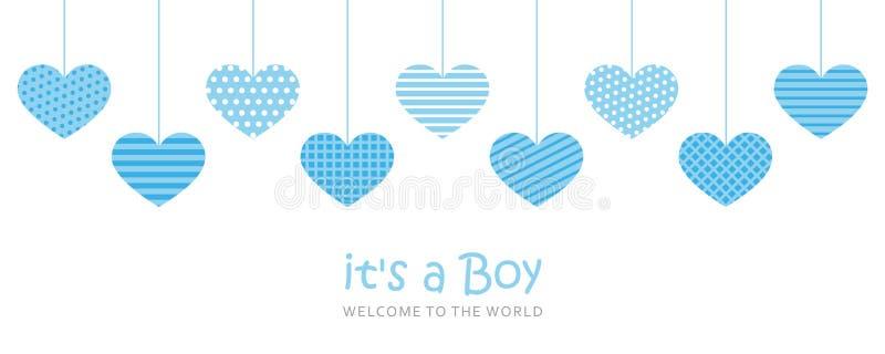 Son une carte de voeux d'accueil de garçon pour l'accouchement avec les coeurs accrochants illustration libre de droits