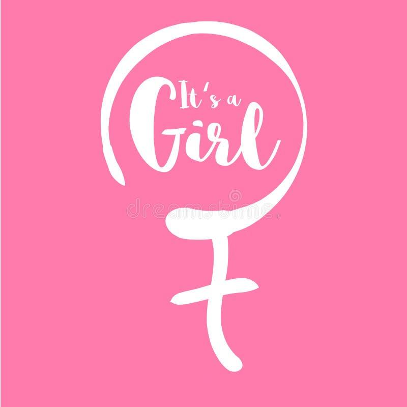 Son une fille - calibre d'invitation de fête de naissance Texte calligraphique dans le signe femelle tiré par la main de genre Ch illustration libre de droits