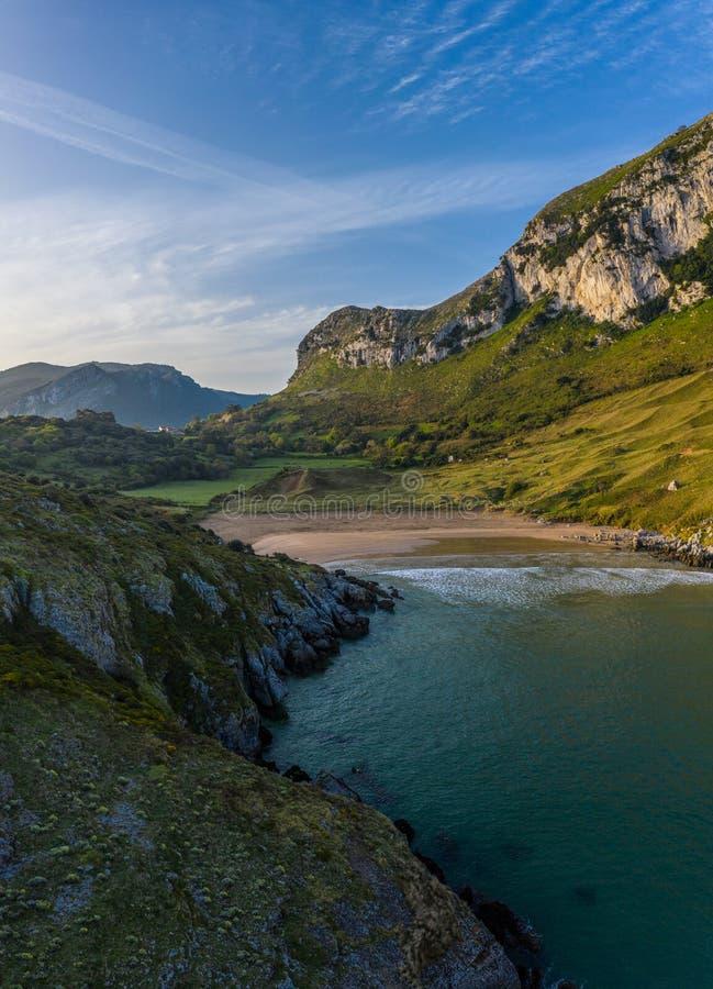 Sonabia beach in Cantabrian sea, Spain. Drone aerial stock photography