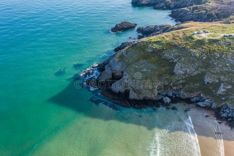 Sonabia beach in Cantabrian sea, Spain. Drone aerial stock images