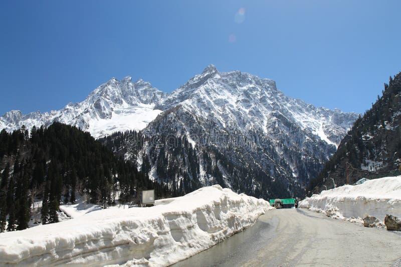 Sonamarg, Srinagar, India: Piękny krajobraz z śnieżną górą obraz royalty free