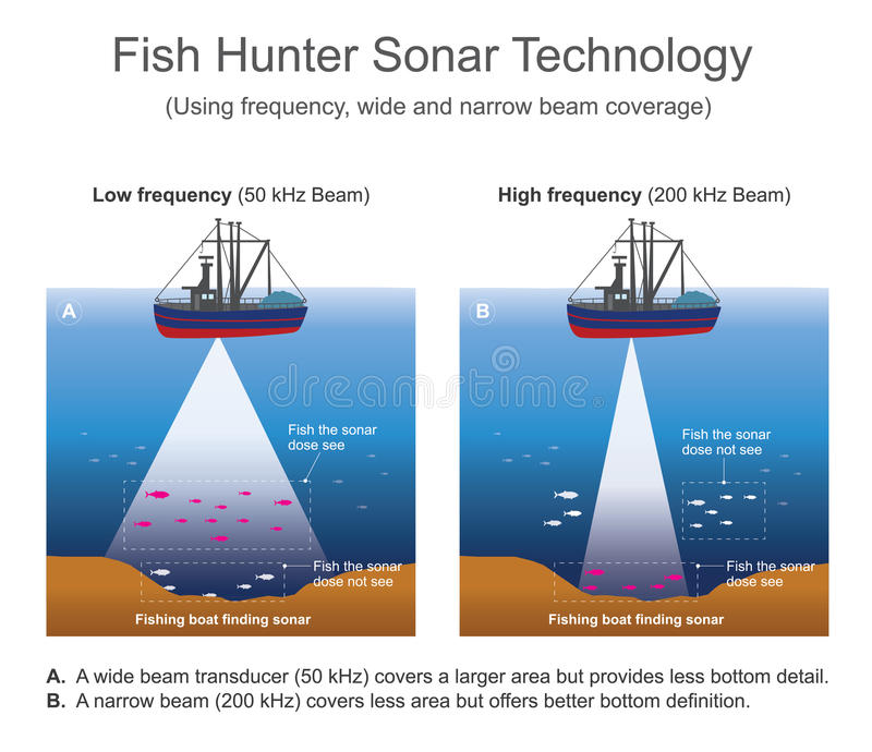 Sonar sound navigation and ranging stock vector for Best ice fishing sonar