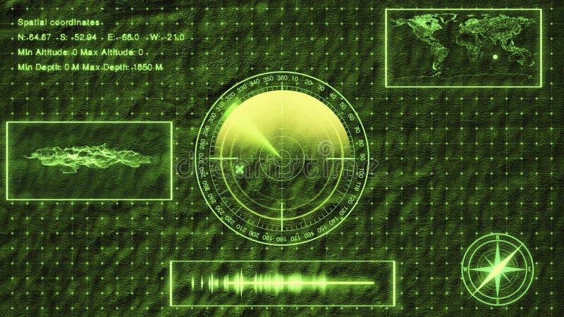 Sonar submarino con la blanco en mapa HUD que muestra la ubicación, la superficie del paisaje y coordenadas de la blanco ilustración del vector