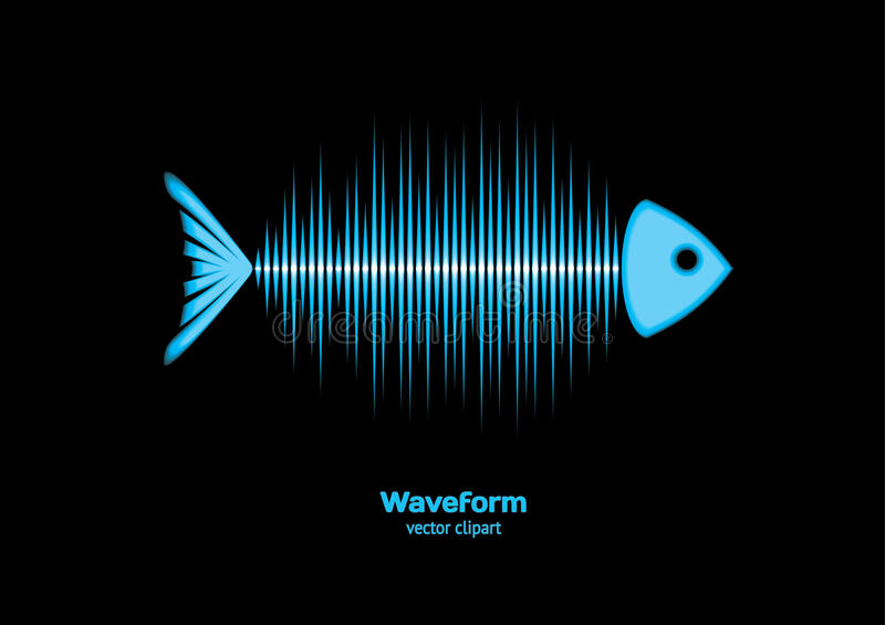 Sonar waveform fish. Sonar fish with bones as sound waveform royalty free illustration